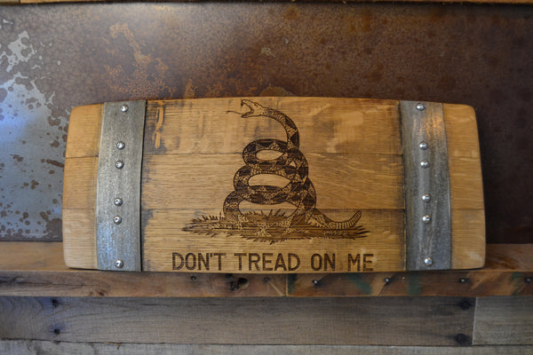 Don't Tread On Me Gadsden Flag Wine Barrel Stave Sign/Laser Engraved/Laser Engraving/Personalized/Wall Art/Wall Hanging/Free Shipping