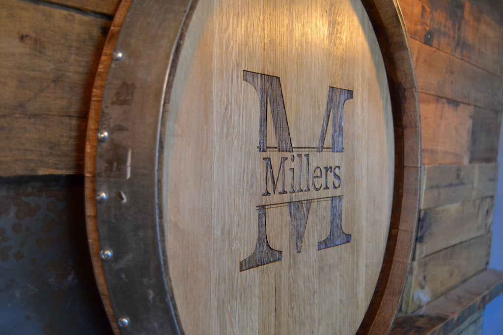 Personalized Reclaimed Wine Barrel Head/Lazy Susan/Clock/Wall Art/Wall Hanging/Laser Engraved/Laser Engraving/Wedding Gift/Free Shipping