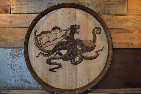 Thirsty Octopus Custom Wine Barrel Head Art Free Shipping/Lazy Susan/Clock/Wall Art/Laser Engraving/Wedding Gift/Free Shipping