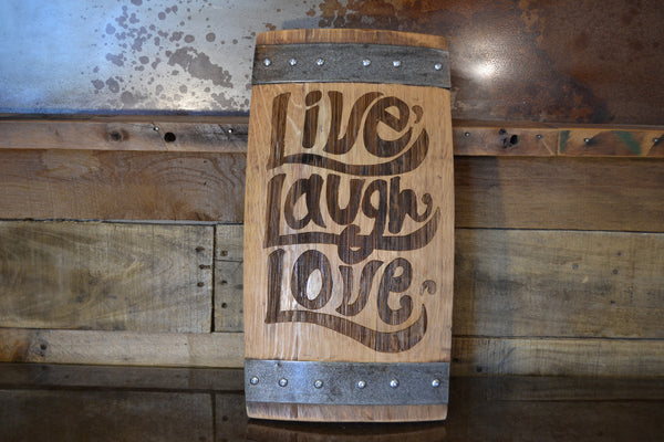 Live Laugh Love Wine Barrel Stave Sign/Laser Engraved/Laser Engraving/Personalized/Wedding/Wall Art/Wall Hanging/Free Shipping