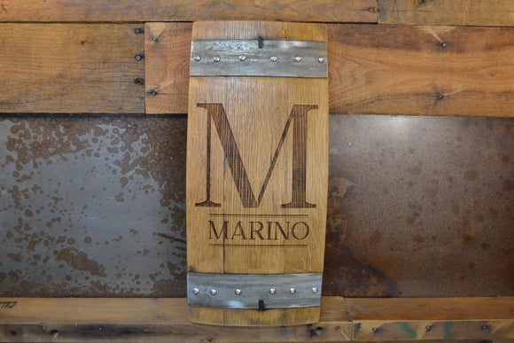 Personalized Family Monogram Wine Barrel Stave Sign