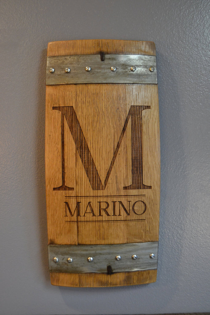 Personalized Family Monogram Wine Barrel Stave Sign/Laser Engraved/Laser Engraving/Personalized/Wedding/Wall Art/Wall Hanging/Free Shipping
