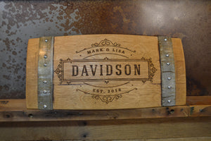Personalized Family Established Wine Barrel Stave Sign