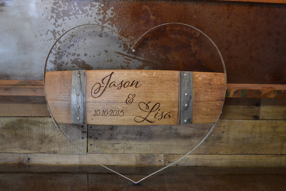 Personalized Wine Hoop Multi Stave Heart Sign