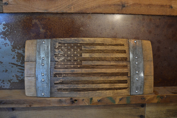 Distressed American Flag Wine Barrel Stave Sign