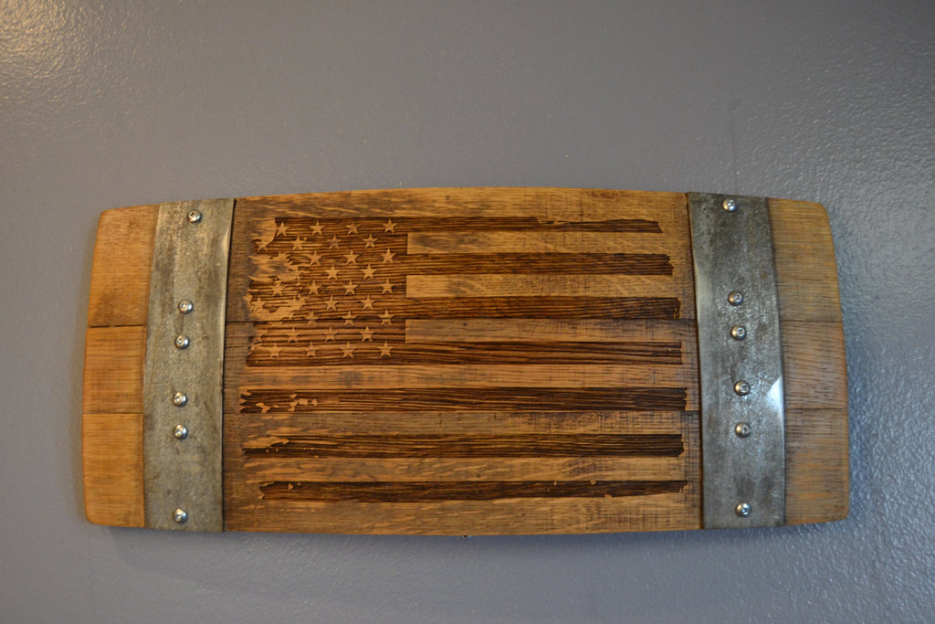 Distressed American Flag Wine Barrel Stave Sign/Laser Engraved/Laser Engraving/Personalized/Wall Art/Wall Hanging/Free Shipping