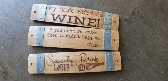 Wine Barrel Stave Signs