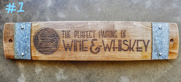 The Perfect Pairing of Wine & Whiskey Wine Barrel Stave Signs