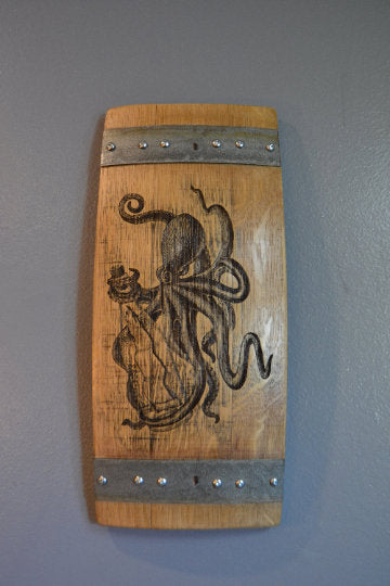 Wine Art Octopus made from Wine Barrel Stave Sign/Laser Engraved/Laser Engraving/Personalized/Wedding/Wall Art/Wall Hanging/Free Shipping