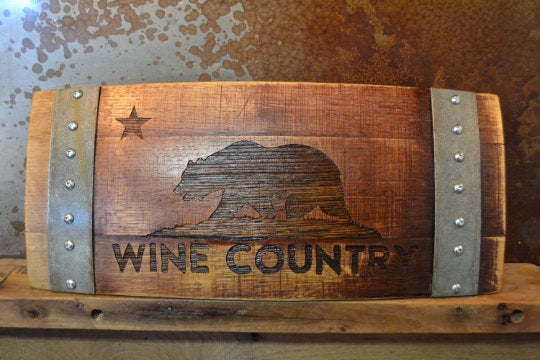 Wine Country Cali Bear Wine Barrel Stave Sign