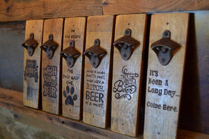 Wine Stave Beer Bottle Opener: Various Sayings