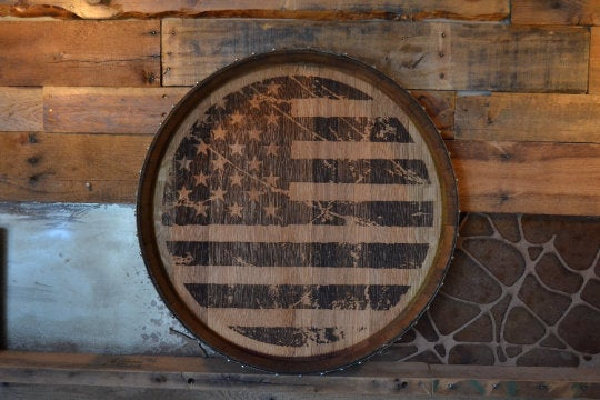 American Flag Reclaimed Wine Barrel Head: Lazy Susan/Wall Art