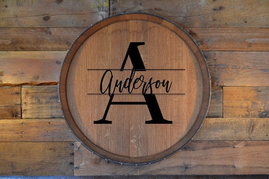 Personalized Family Monogram Reclaimed Wine Barrel Head: Lazy Susan/Wall Art