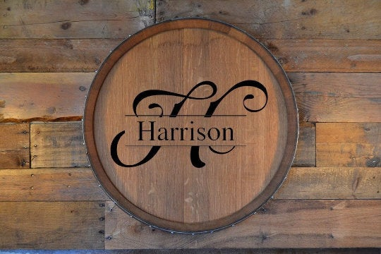 Personalized Reclaimed Wine Barrel Head/Lazy Susan/Wall Art/Wall Clock