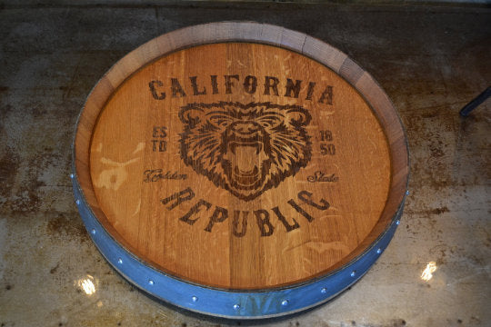 Personalized Reclaimed Wine Barrel Head: Lazy Susan/ Wall Clock/Wall Art