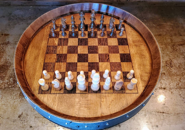 Laser engraved Chess/Checker board made from a Repurposed Napa Valley Wine Barrel