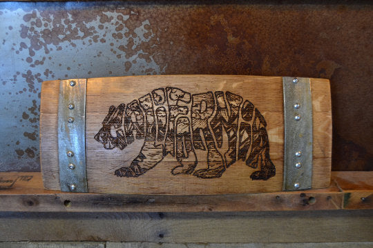 Wine Art Cali Bear made from Wine Barrel Stave Sign/Laser Engraved/Laser Engraving/Personalized/Wedding/Wall Art/Wall Hanging/Free Shipping
