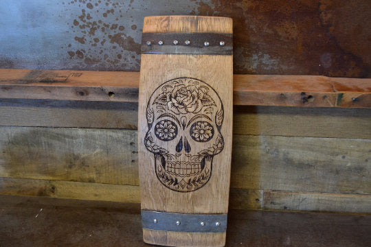 Sugar Skull Wine Barrel Stave Sign