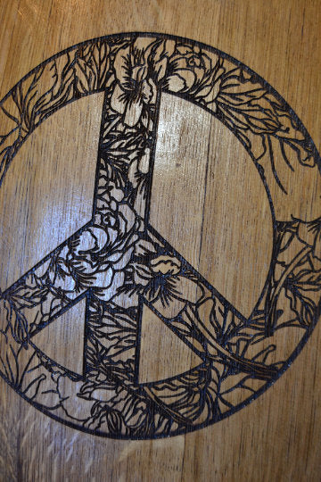 Floral Peace Sign made from Wine Barrel Stave Sign/Laser Engraved/Laser Engraving/Personalized/Wedding/Wall Art/Wall Hanging/Free Shipping