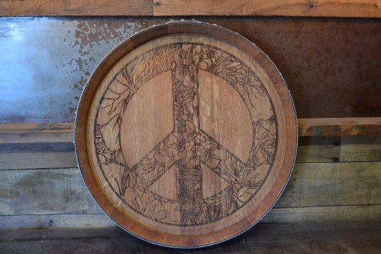 Floral Peace Sign Custom Wine Barrel Head/Lazy Susan/Clock/Wall Art/Wall Hanging/Laser Engraved/Laser Engraving/Wedding Gift/Free Shipping
