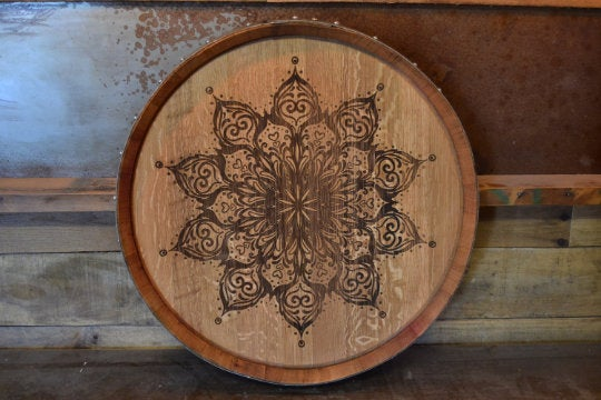 Mandala Custom Wine Barrel Head/Lazy Susan/Clock/Wall Art/Wall Hanging/Laser Engraved/Laser Engraving/Wedding Gift/Free Shipping