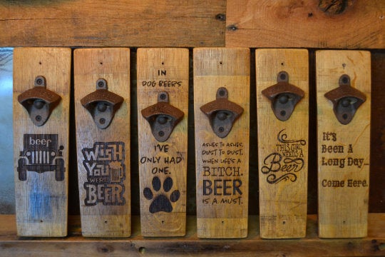 Wine Stave Beer Bottle Opener/custom/Beer/Bar/Laser Engraved/Laser Engraving/Personalized/Opener/Free Shipping/