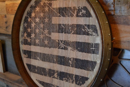 Personalized American Flag Reclaimed Wine Barrel Head/Lazy Susan/Clock/Wall Art/Wall Hanging/Laser Engraving/4th of July/Free Shipping