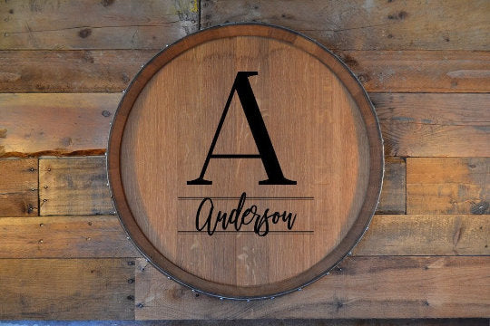 Personalized Family Monogram Reclaimed Wine Barrel Head/Lazy Susan/Clock/Wall Art/Wall Hanging/Laser Engraved/Christmas Gift/Free Shipping