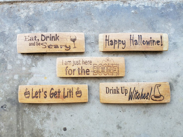 Mini Wine Barrel Stave Signs/Halloween/ It's Wine Oclock Somewhere/Sayings/Personalized/Laser Engraved/Gift Ideas/Wine Sayings/Free Shipping