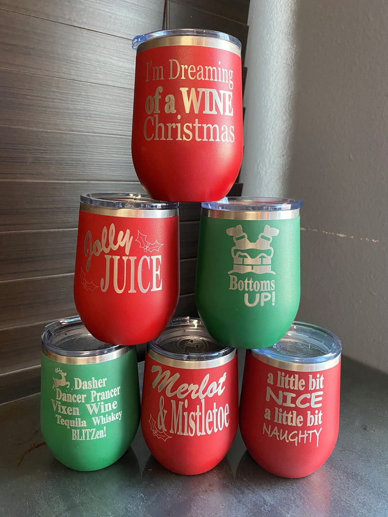 Custom Holiday Wine Tumblers - VARIETY OF SAYINGS