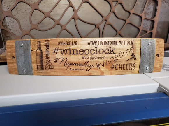 Wing Hashtags Wine Barrel Stave Signs