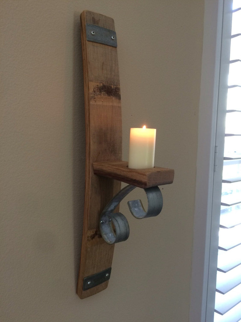 Wine Barrel Stave Wall Candle Holder