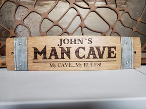 Personalized Man Cave Barrel Stave Sign
