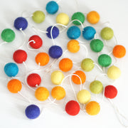 2cm Rainbow Felt Ball Garland 9 ft