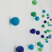 Small Ball Blues and Greens Felt Ball Garland-9ft