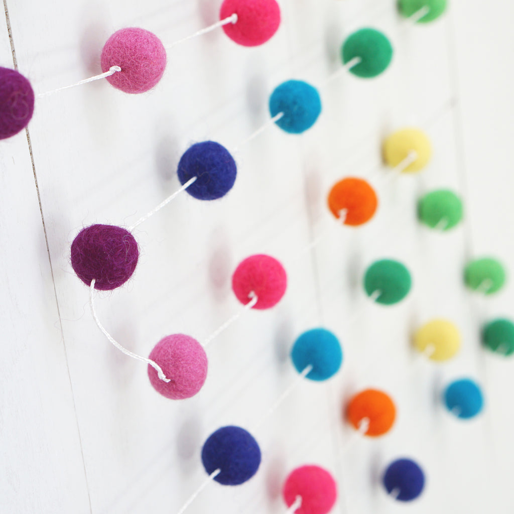 2cm Rainbow Brights Felt Ball Garland 9 foot.