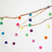 Small Ball Rainbow Brights Felt Ball Garland- 9ft