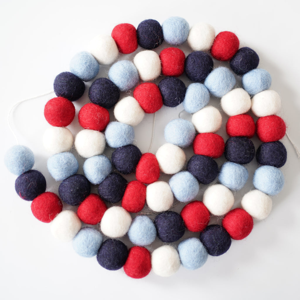 3cm Large Ball Garland - Patriotic
