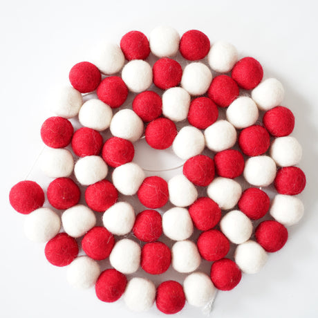 3cm Large Ball Garland - Red & White