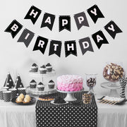 Happy Birthday Banner -Black & White