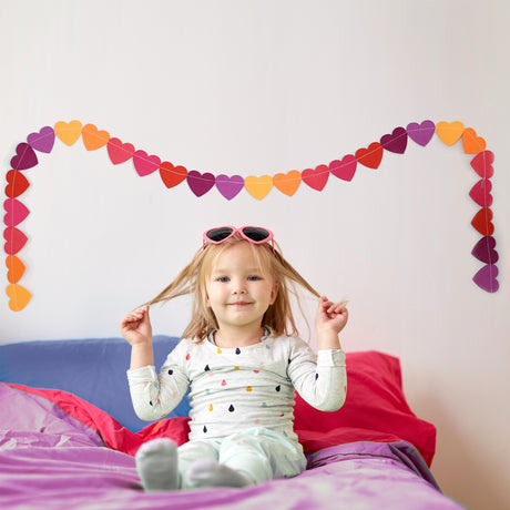 Bright Sewn Heart Garland
