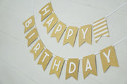 Gold Glitter Happy Birthday Banner