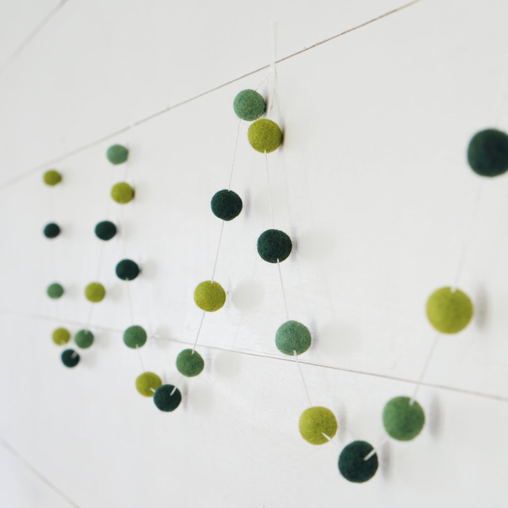 Small Ball Greens Felt Ball Garland- 9ft