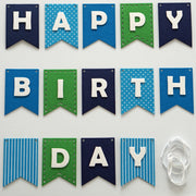 Happy Birthday Banner- Blues and Greens