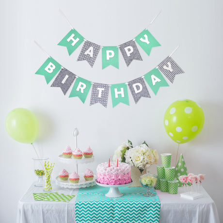 Happy Birthday Banner- Mint and Gray