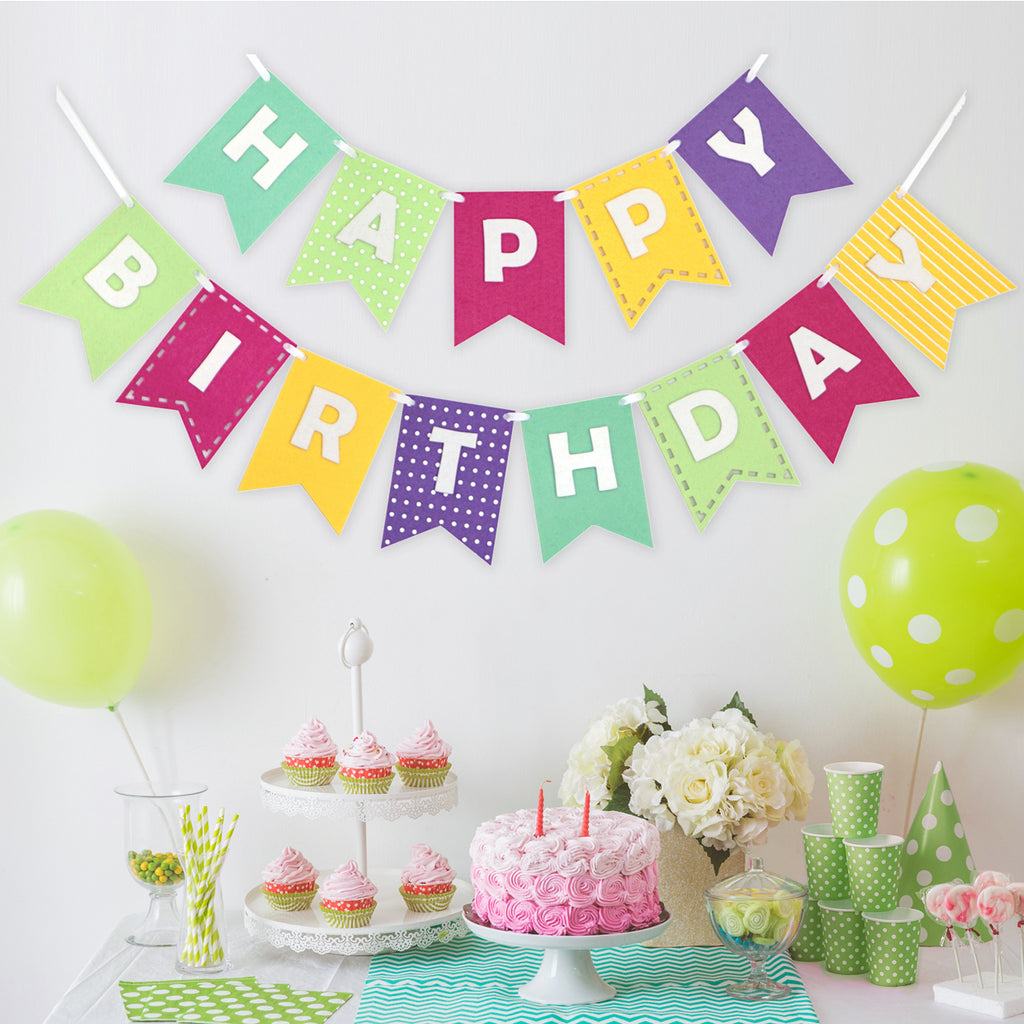 Happy Birthday Banner- Girly Brights