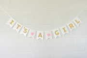 It's A Girl- Felt Laser Cut Banners - White & Gold Shimmer