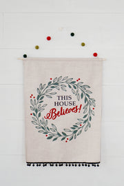 Holiday Pom Pom Linen Wall Flags