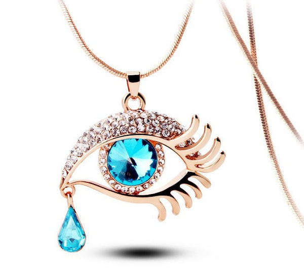 Blue Eye With Tears Rose Gold Plated Necklace - 2