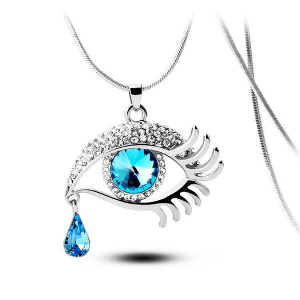Blue Eye With Tears Silver Plated Necklace